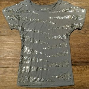 Silver sparkles short sleeve shirt size small